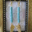 Handmade Stacked Blue Turquoise and Golden Wing Earrings, Free U.S. Shipping!