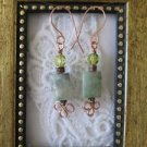 Light Green Rectangle Jade Gemstone Copper Wire Earrings, Free U.S. Shipping!