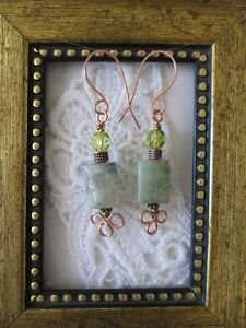 Light Green Rectangle Jade Gemstone Copper Wire Earrings, Free U.S. Shipping!