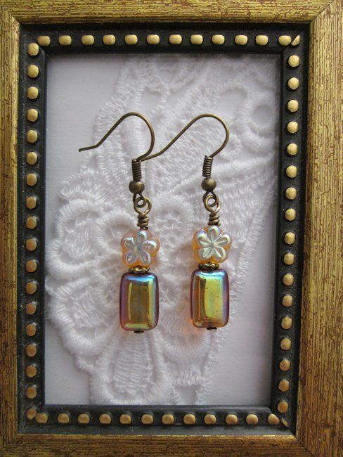 Handmade Clear/Silvery Czech Amber Silver Tone Earrings, Free U.S. Shipping!!