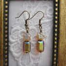 Handmade Clear/Silvery Czech Amber Silver Tone Earrings, Free U.S. Shipping!!