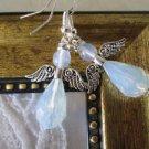 Handmade Opal White Drop Crystal Angel / Fairy Silver Tone Earrings, Free Ship!