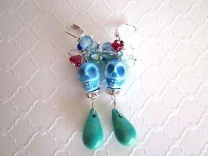Halloween / Day of the Dead Baby Blue Porcelain Sugar Skull Silver Tone Earrings