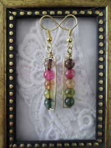 Handmade Rainbow Fluorite Gemstone Gold Tone Earrings, Free U.S. Shipping!