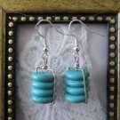 Handmade Turquoise Disc Stack Silver Tone Earrings, Free U.S. Shipping!