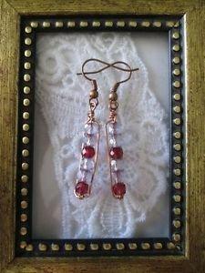 Wine Purple Czech Glass Beaded Copper Wire Rectangle Earrings, Free U.S. Ship!