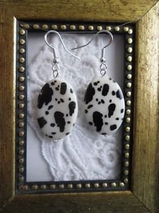 Dalmatian / Cow Print White Oval Shell Silver Tone Earrings Free U.S. Shipping!