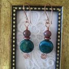 Handmade Dark Green Coin Chrysocolla Copper Wire Earrings, Free U.S. Shipping!
