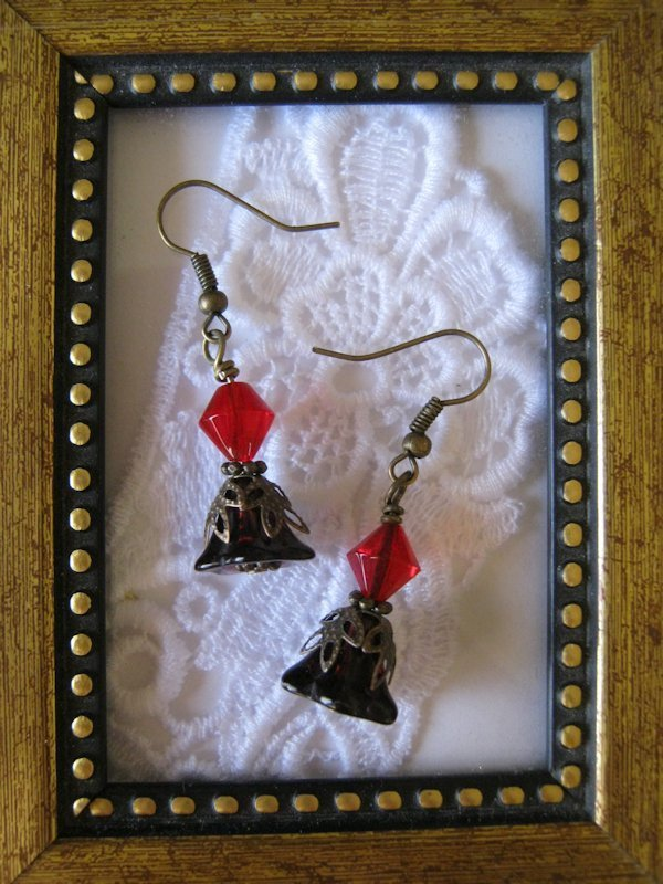 Handmade Purple Flower with Red Glass Abacus Earrings, Free U.S. Shipping
