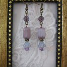 Handmade Milky Lavender Glass Flower Earrings, Free U.S. Shipping!!