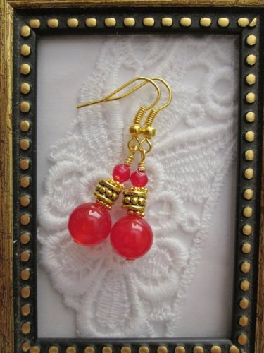 Handmade Ruby Gemstone Gold Tone Earrings, Free U.S. Shipping!!