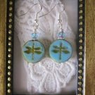 Light Blue Czech Picasso Glass Dragonfly Silver Tone Earrings, Free Shipping!