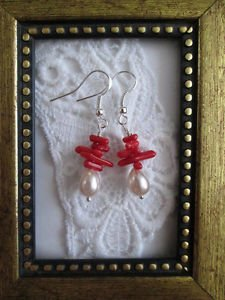 Handmade Red Coral Chip & Pearl Silver Tone Earrings, Free Shipping!