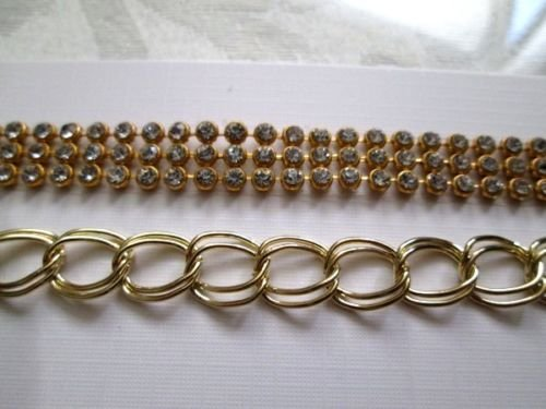 Gold Tone or Silver Tone Rhines Stone Chain Bracelet, Free U.S. Shipping!