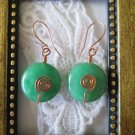 Handmade Puffy Coin Green Jade Spiral Copper Wire Earrings, Free U.S. Shipping!