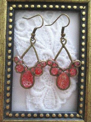 Handmade Apple Red Glittered Bronze Tone Earrings, Free U.S. Shipping!