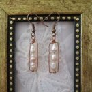 Handmade Triplet Pearl Copper Wire Rectangle Earrings, Free U.S. Shipping!