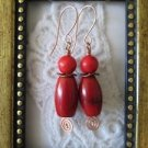 Handmade Chunky Red Bamboo Coral Spiral Copper Wire Earrings, Free Shipping!