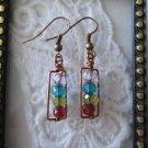 Handmade Rustic Czech Glass Copper Wire Rectangle Earrings, Free U.S. Shipping!!
