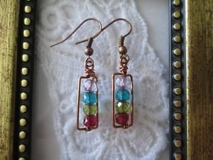 Handmade Rustic Czech Glass Copper Wire Rectangle Earrings, Free U.S. Shipping!!