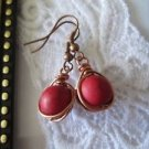 Handmade Copper Wire Wrapped Red Gemstone Bead Earrings, Free U.S. Shipping!