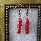 Bubbly Red Coral Stack Copper Wire Rectangle Earrings, Free U.S. Shipping!
