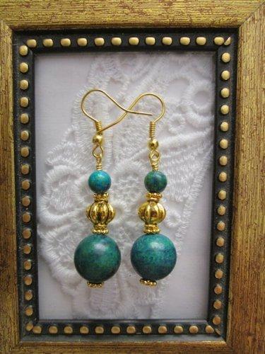 Handmade Azurite Chrysocolla Gold Tone Earrings, Free U.S. Shipping!!