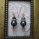 Black Pearl & Crystal Copper Earrings, Rhine Stone Accent, Handmade Ear Wires