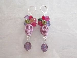 Halloween /Day of the Dead Red Purple Porcelain Sugar Skull Silver Tone Earrings
