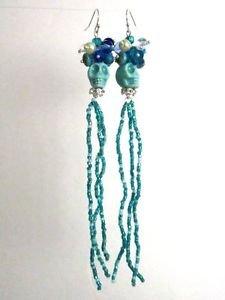 Halloween / Day of the Dead Turquoise Blue Porcelain Sugar Skull Long Earrings