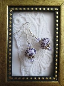 Purple Flower Print White Porcelain Beads and Faceted Crystal Silver Earrings
