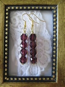 Wine Purple Czech Fire Polish Bead Gold Tone Earrings, Free U.S. Shipping!