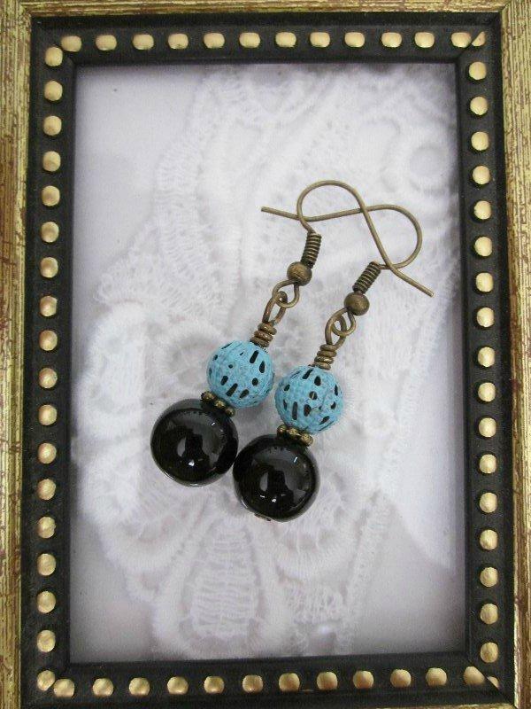 Handmade Black Stone and Blue Filigree Charm Earrings, Free Shipping!