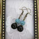 Handmade Black Stone and Blue Filigree Charm Earrings, Free Shipping!