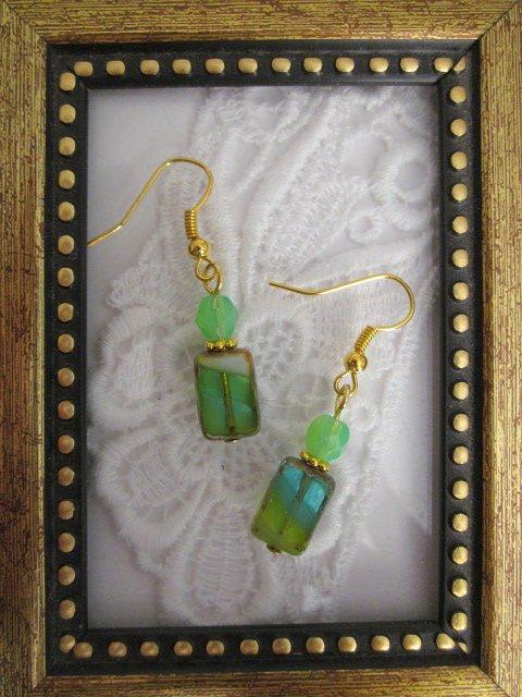 Handmade Rectangle Green Hurricane Glass Earrings, Free U.S. Shipping!