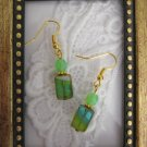 Handmade Rectangle Green Hurricane Glass Earrings, Free U.S. Shipping!