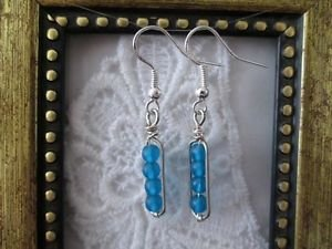 Peacock Blue FrostedGlass Bead Silver Tone Earrings, Free U.S. Shipping