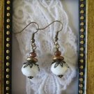 Opaque White Faceted Crystal Antique Bronze Tone Earrings, Free U.S. Shipping!
