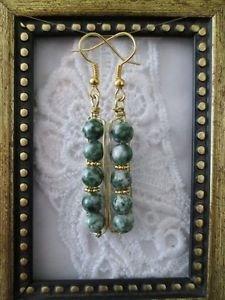 Green & White Jasper Gemstone Bead Gold Tone Earrings, Free U.S. Shipping!