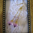 Handmade Light Purple Long Stem Flower Earrings, Free U.S. Shipping!