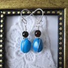 Handmade Tumbled Blue Howlite Turquoise and Dark Red Garnet Earrings