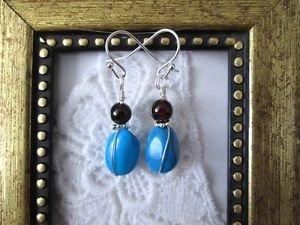 Handmade Tumbled Blue Howlite Turquoise and Dark Red Garnet Earrings