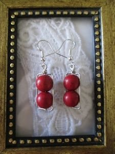 Handmade Double Red Howlite Round Bead Silver Tone Earrings, Free U.S. Shipping!