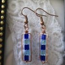 Blue Cube Glass Bead Copper Wire Rectangle Earrings, Free U.S. Shipping!