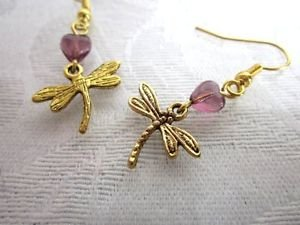 Handmade Gold Tone Charm Earrings Cats, Snow, Dragonfly,  Feather, Spider