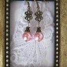 Handmade Champagne Pink Pearl Bronze Tone Earrings, Free Shipping!