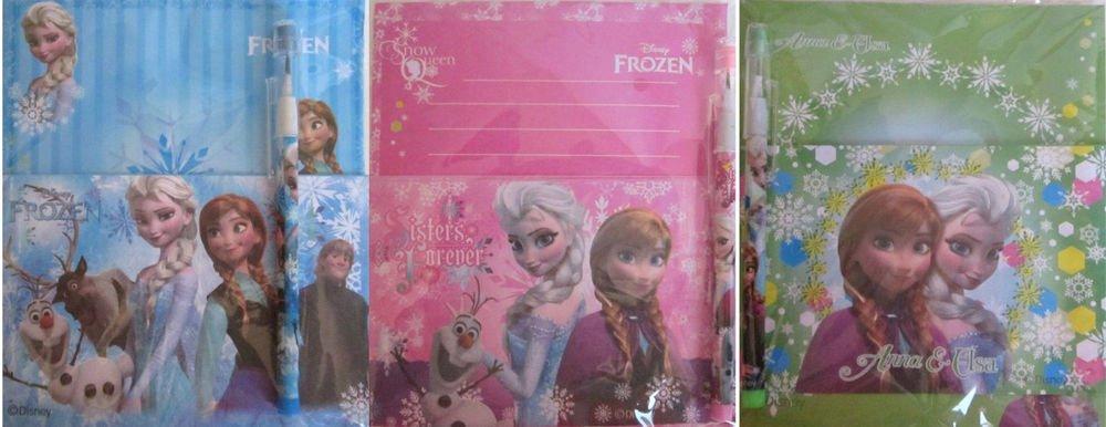 Lot of 3 Disney FROZEN Anna & Elsa Stationery Set, Letter Pad, Envelope & Pencil