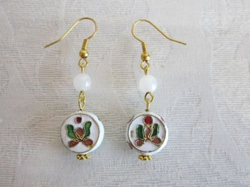 Handmade Cloisonne Floral Nature Bead Earrings, Cross, Round, Donut, Butterfly