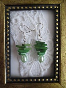Handmade Green Coral Chip & Pearl Silver Tone Earrings, Free Shipping!