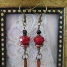 Dark Red Crystal Bead Rustic Glass Bronze Tone Earrings, Free U.S. Shipping!